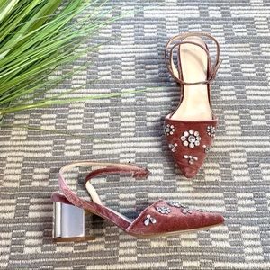 Forever 21 velvet embellished ankle wrap heel